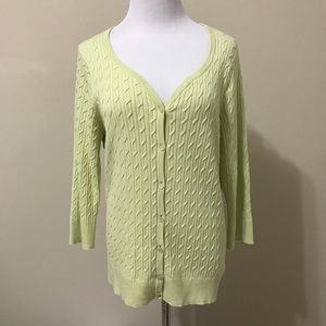 Talbots Top XL Knit Button Long Office Stretch Sun